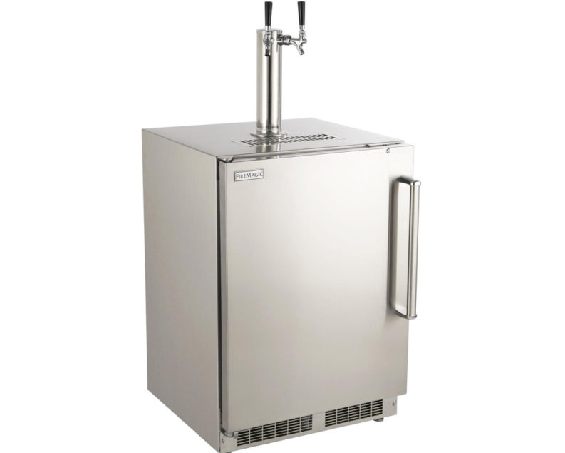 Fire Magic 24 Inch Left Hinged Outdoor Built In Dual Tap Kegerator Stainless Steel 3594 Dl