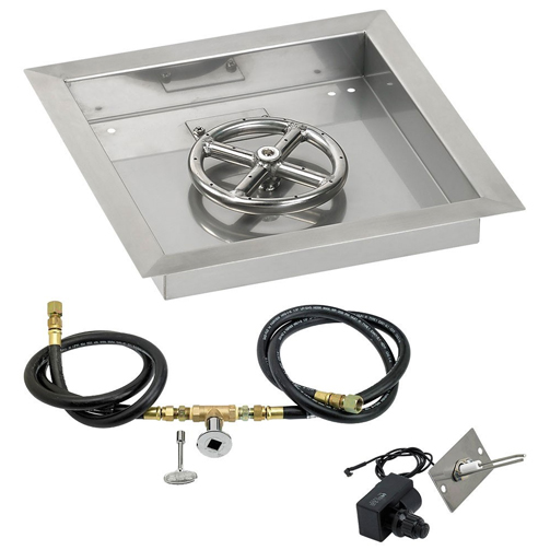 """12"""" Square Drop In Pan with Spark Ignition Kit 6"""" Fire"""