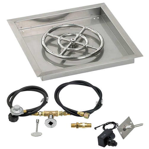 """18"""" Square Drop In Pan with Spark Ignition Kit 12"""" Fire"""