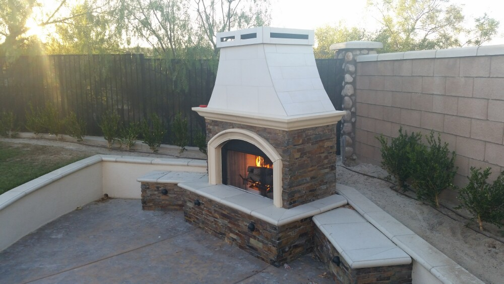Bbq island fireplace corona ca extreme backyard designs for Fireplace and bbq
