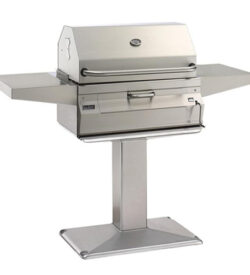 Fire Magic Legacy 24-Inch Meat Smoker Charcoal Grill On Patio Post - 22-SC01C-P6