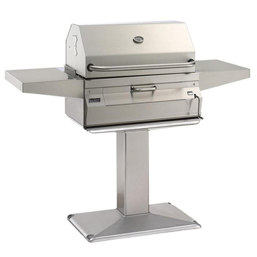 Fire Magic Legacy 24 Inch Meat Smoker Charcoal Grill On Patio Post   22