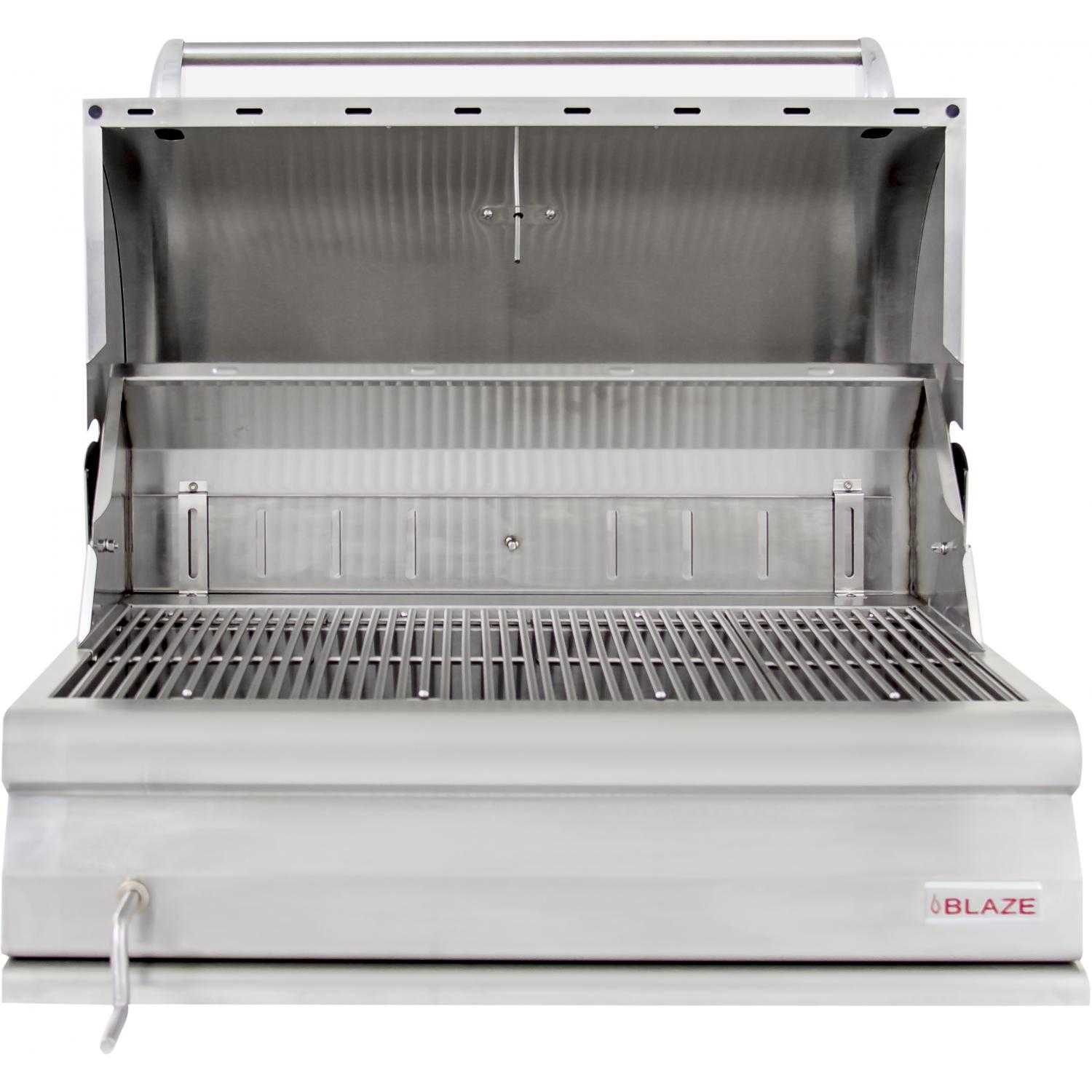 Blaze 32 Inch Built In Stainless Steel Charcoal Grill With Adjustable Charcoal Tray Extreme