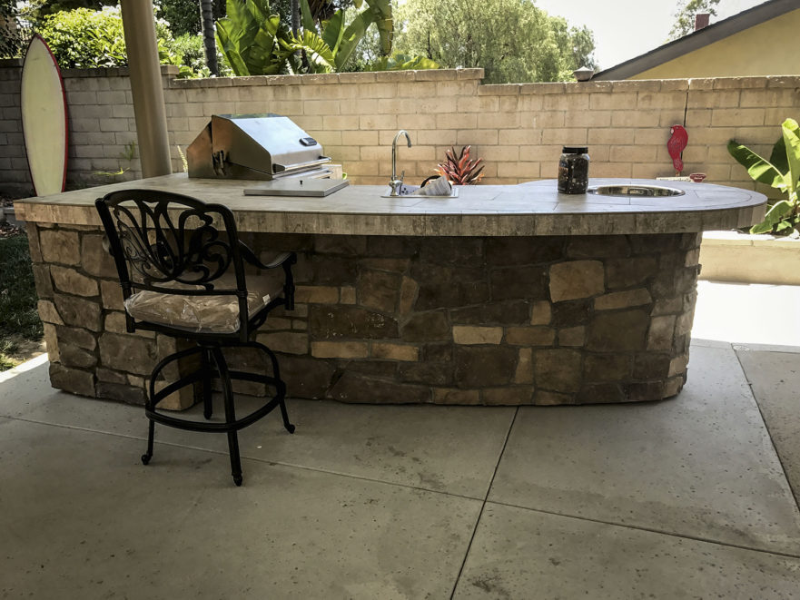 Custom Backyard Designs custom outdoor kitchen with rock - extreme backyard designs