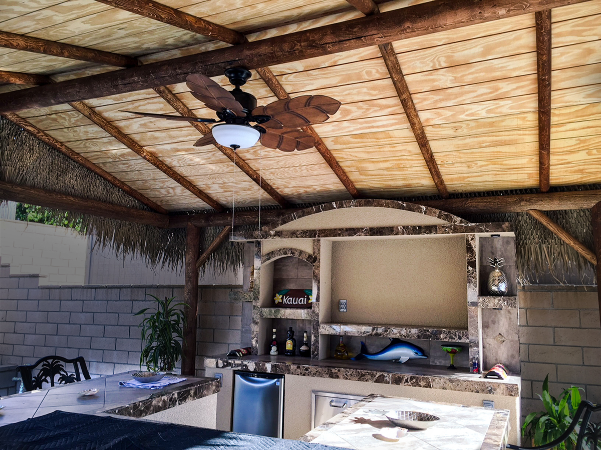 Outdoor Bar with Solid Roof Palapa | Extreme Backyard Designs on Palapa Bar Backyard id=46755