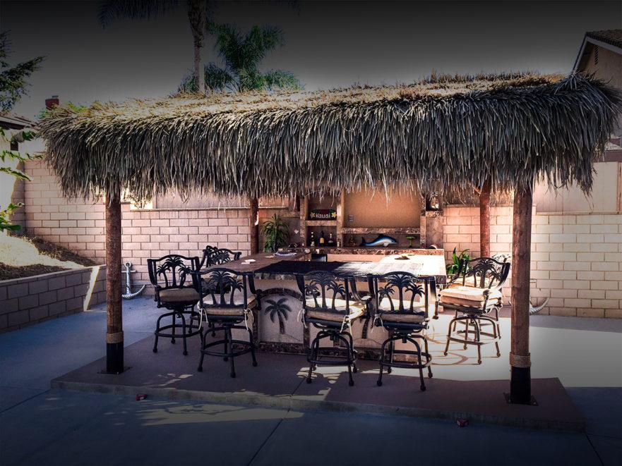 Outdoor Bar with Solid Roof Palapa | Extreme Backyard Designs on Palapa Bar Backyard id=26520