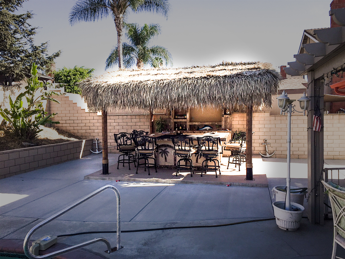 Outdoor Bar with Solid Roof Palapa | Extreme Backyard Designs on Backyard Bar With Roof id=11567